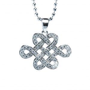 Crystal Mystic Knot Pendant (Premium) Clear Horizontal