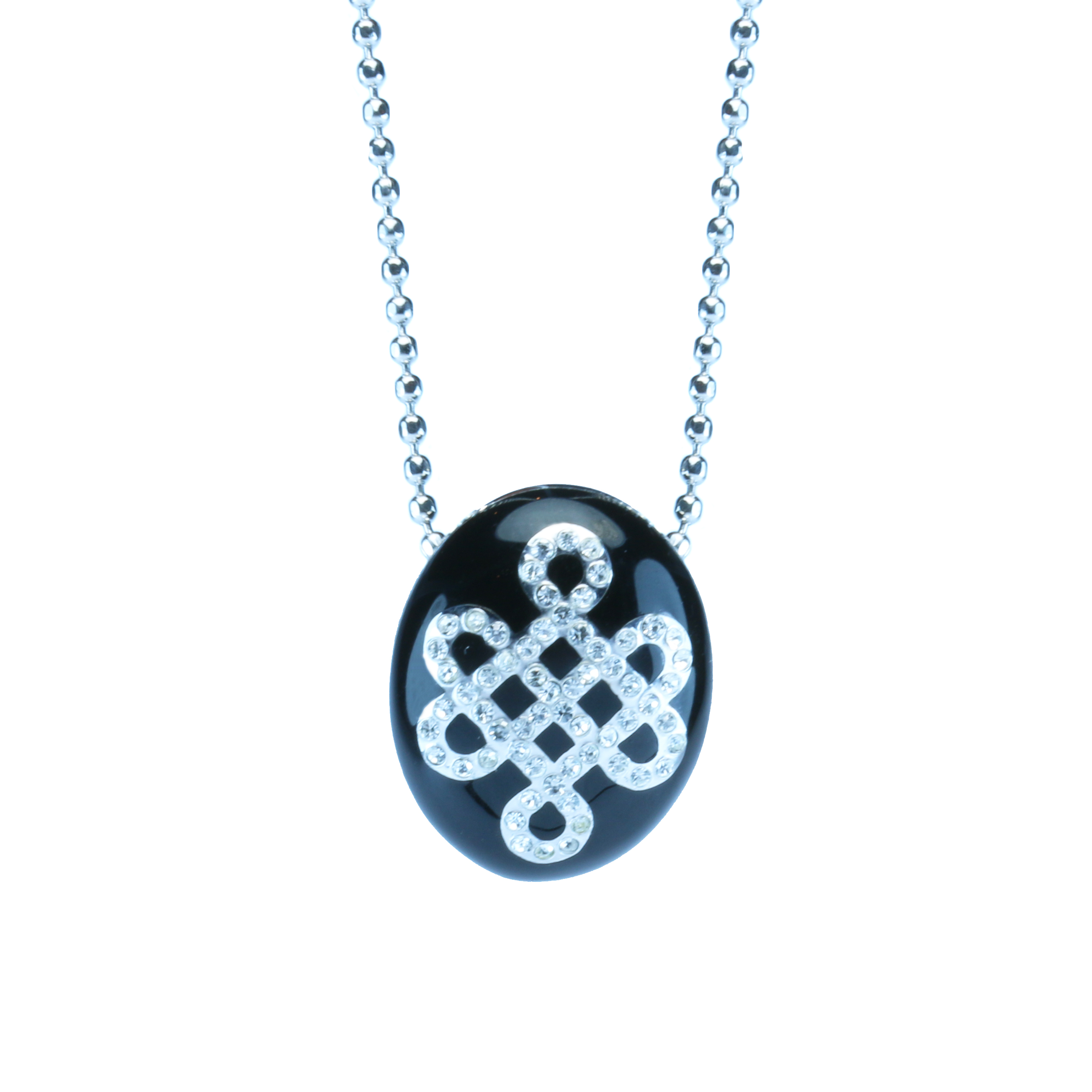 Crystal mystic knot pendant enamel crystal mystic knot pendant solid black mozeypictures Image collections