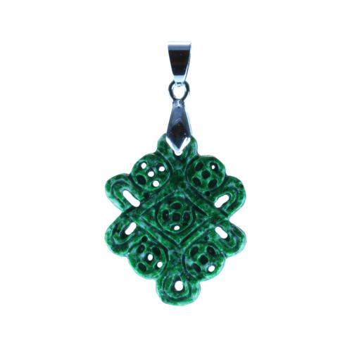 Exquisite Dark Green Jade Mystic Knot Pendant