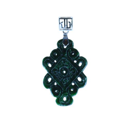 Exquisite Dark Green Jade Mystic Knot Pendant 2