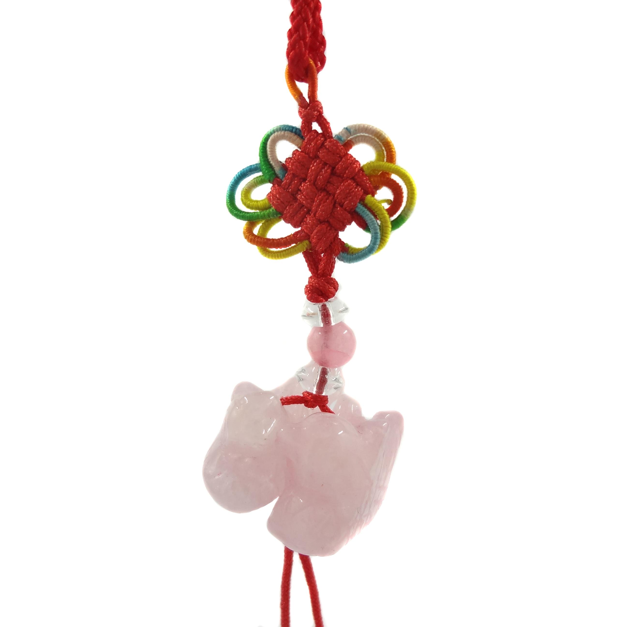 Feng Shui Chinese Rose Quartz Mandarin Duck Love Charm